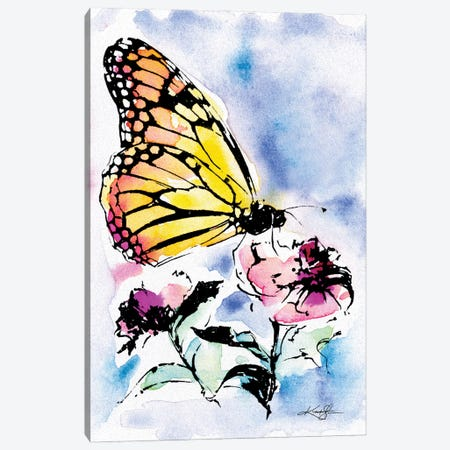 Butterfly With Flowers Canvas Print #KMS86} by Kathy Morton Stanion Art Print