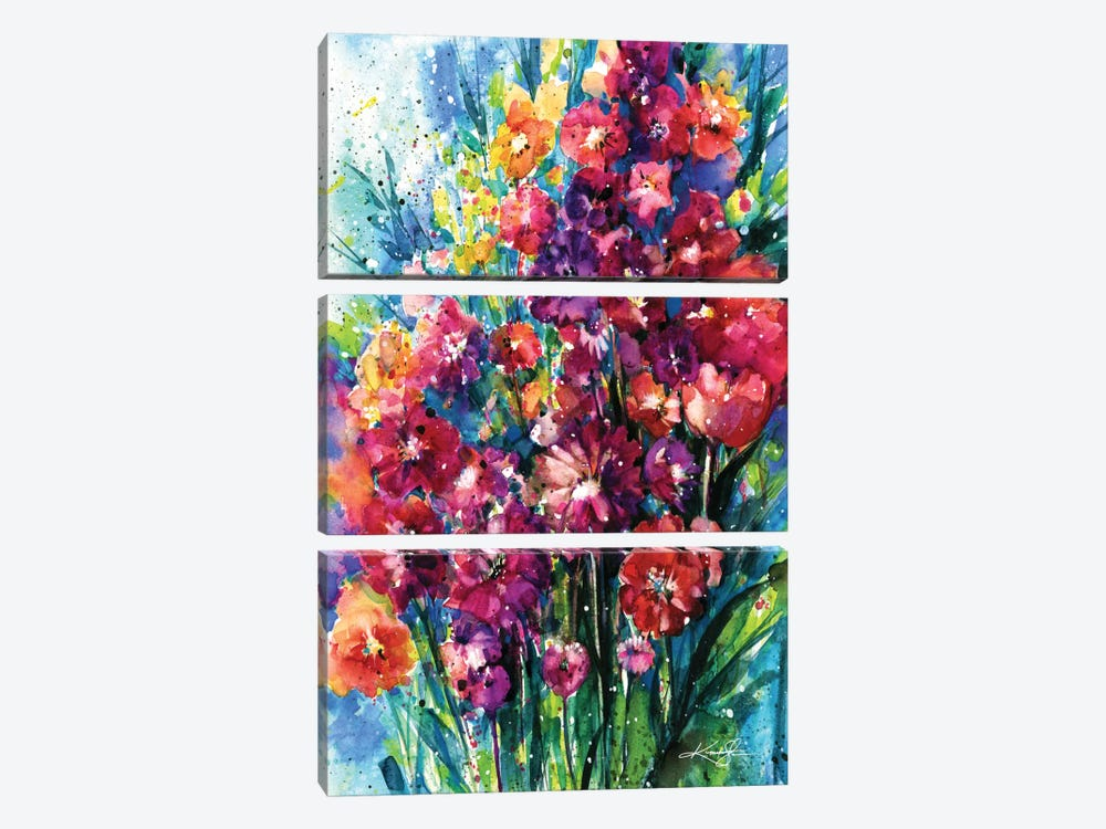 Floral Jubilee I by Kathy Morton Stanion 3-piece Canvas Art Print