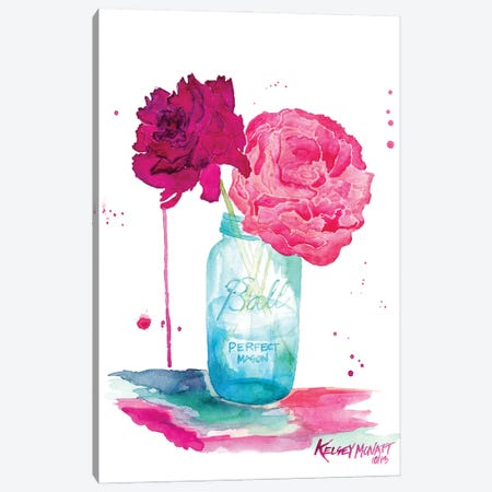 Peonies And A Mason Jar Canvas Print #KMT108} by Kelsey McNatt Canvas Wall Art