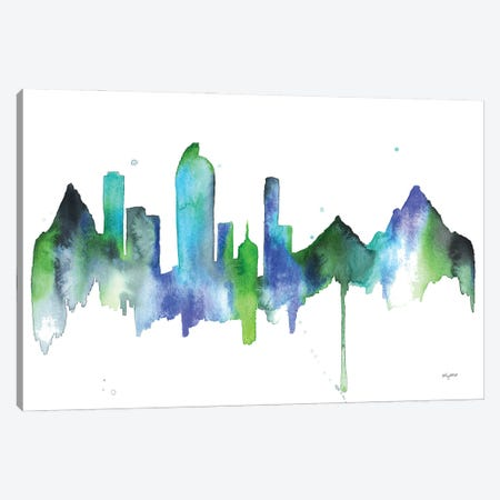 Blue Denver Skyline Canvas Print #KMT13} by Kelsey McNatt Canvas Artwork