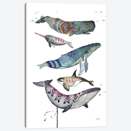 Tribal Whales Canvas Print #KMT141} by Kelsey McNatt Canvas Artwork