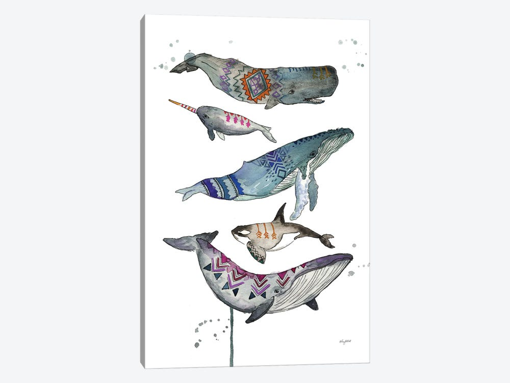 Tribal Whales by Kelsey McNatt 1-piece Canvas Print