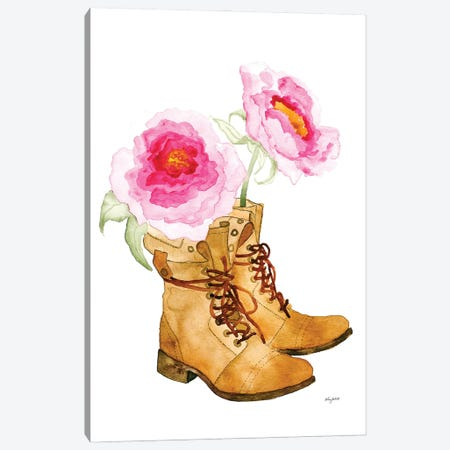 Boots And Flowers Canvas Print #KMT14} by Kelsey McNatt Canvas Print