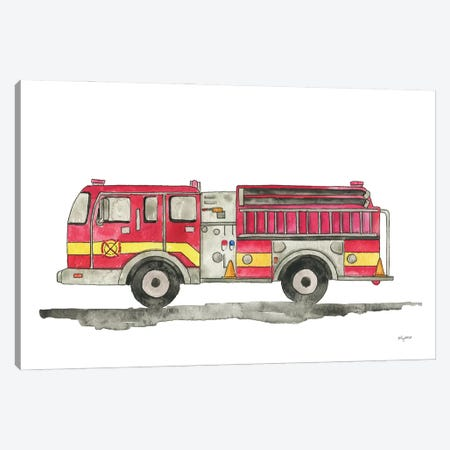 Fire Truck Canvas Print #KMT153} by Kelsey McNatt Art Print
