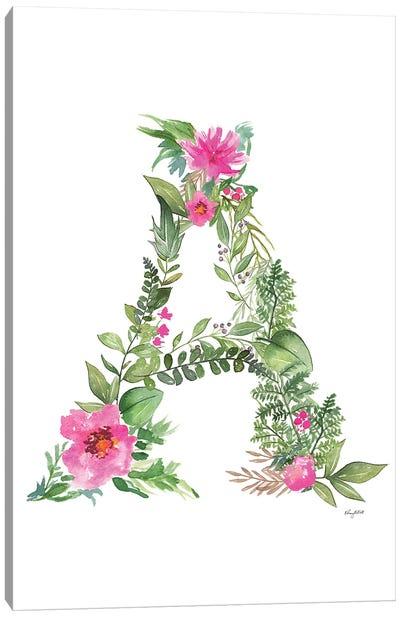 Botanical Letter A Canvas Art Print