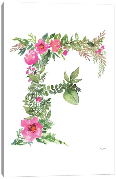Botanical Letter F Canvas Art Print