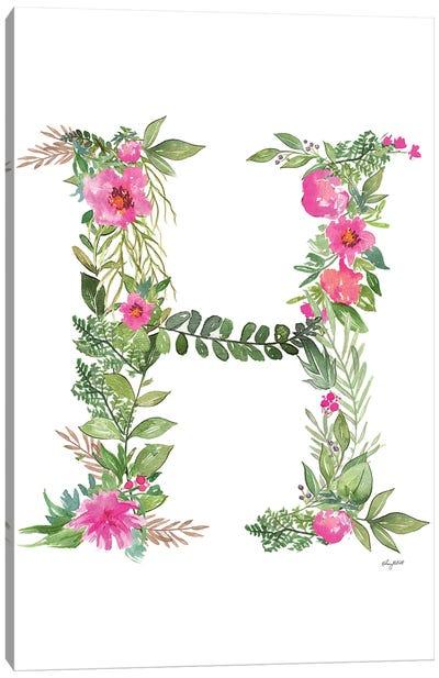 Botanical Letter H Canvas Art Print