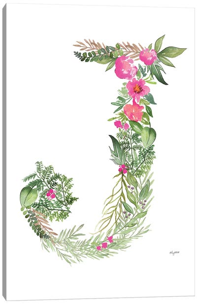 Botanical Letter J Canvas Art Print