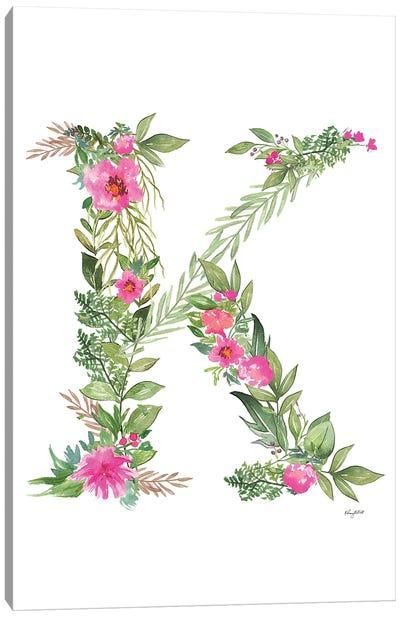 Botanical Letter K Canvas Art Print