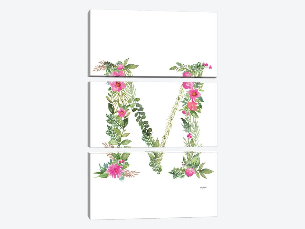Botanical Letter M by Kelsey McNatt 3-piece Canvas Art Print