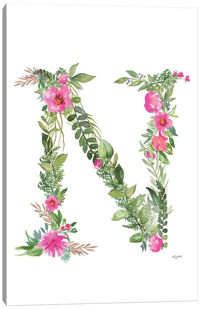 Botanical Letter N Canvas Art Print