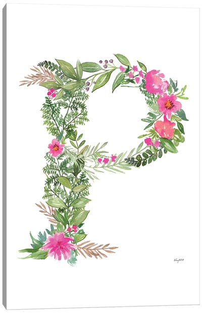Botanical Letter P Canvas Art Print