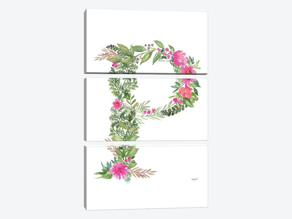 Botanical Letter P by Kelsey McNatt 3-piece Canvas Print