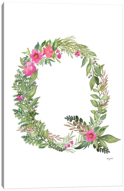 Botanical Letter Q Canvas Art Print
