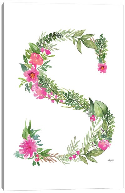 Botanical Letter S Canvas Art Print