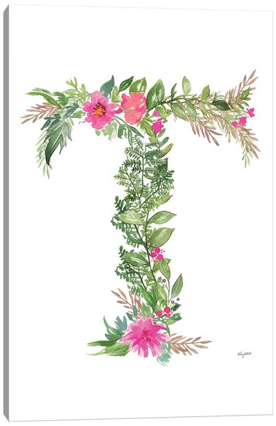 Botanical Letter T Canvas Art Print