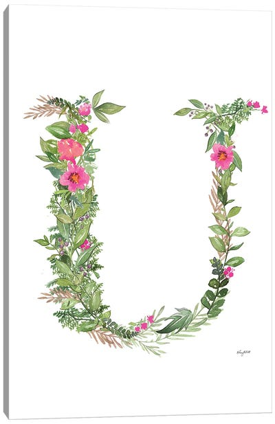 Botanical Letter U Canvas Art Print