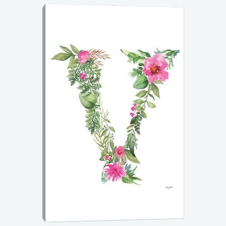 Botanical Letter V Canvas Print #KMT37} by Kelsey McNatt Art Print