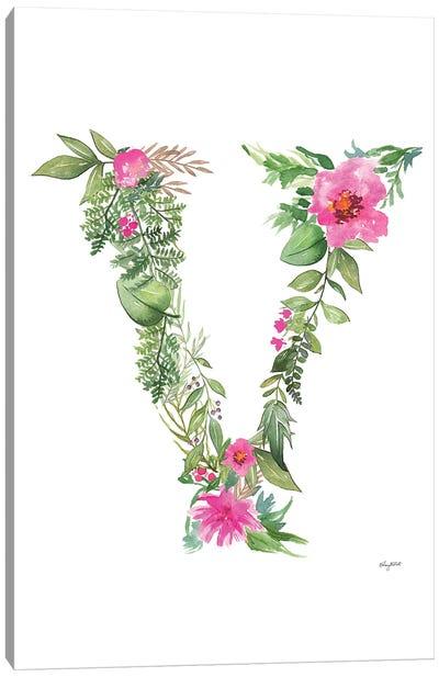 Botanical Letter V Canvas Art Print