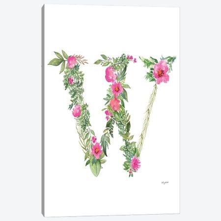 Botanical Letter W Canvas Print #KMT38} by Kelsey McNatt Canvas Wall Art