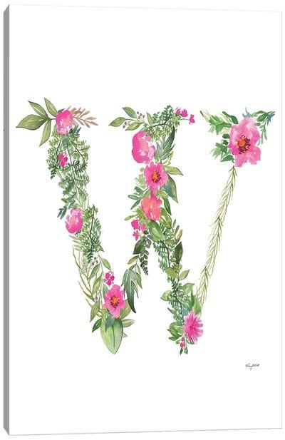 Botanical Letter W Canvas Art Print