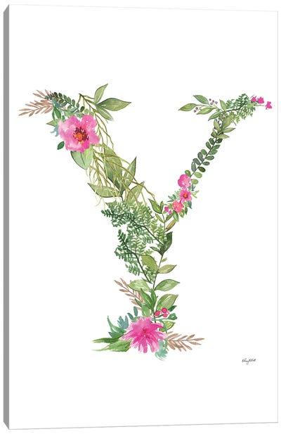 Botanical Letter Y Canvas Art Print