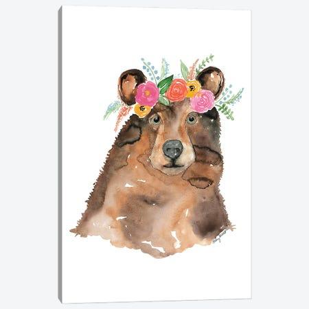 Flower Crown Bear Canvas Print #KMT63} by Kelsey McNatt Canvas Print