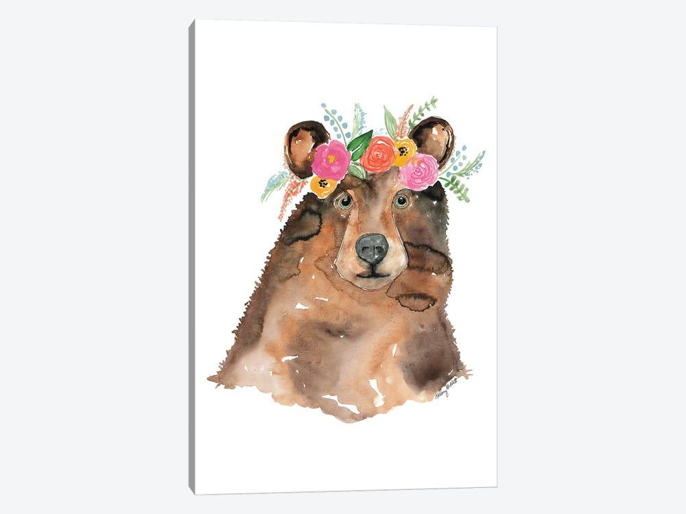 Flower Crown Bear by Kelsey McNatt 1-piece Canvas Wall Art