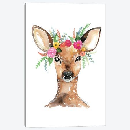 Flower Crown Deer Canvas Print #KMT64} by Kelsey McNatt Canvas Artwork
