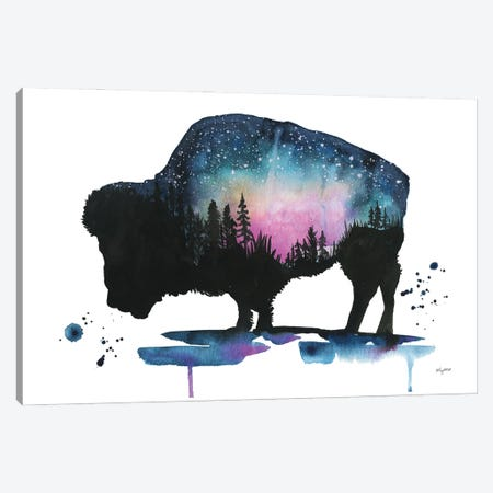 Galaxy Bison Canvas Print #KMT66} by Kelsey McNatt Canvas Wall Art