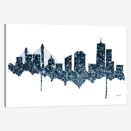 Glitter Boston Skyline Canvas Print #KMT70} by Kelsey McNatt Canvas Artwork