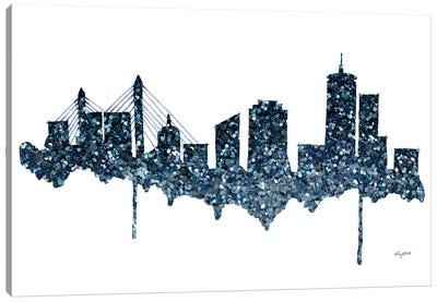 Glitter Boston Skyline Canvas Art Print
