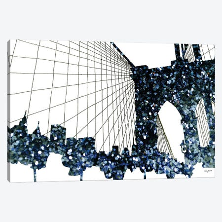 Glitter Brooklyn Bridge Canvas Print #KMT71} by Kelsey McNatt Canvas Artwork