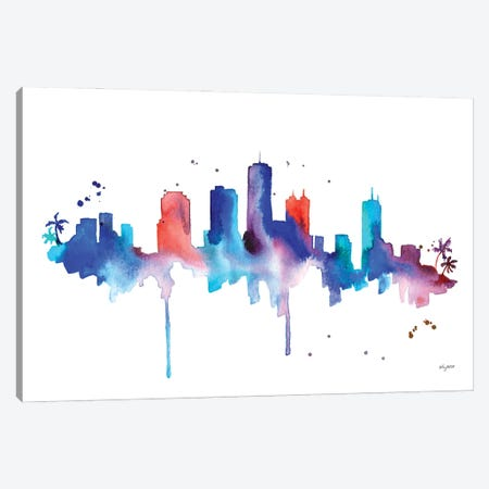 Honolulu Skyline Canvas Print #KMT76} by Kelsey McNatt Canvas Art Print