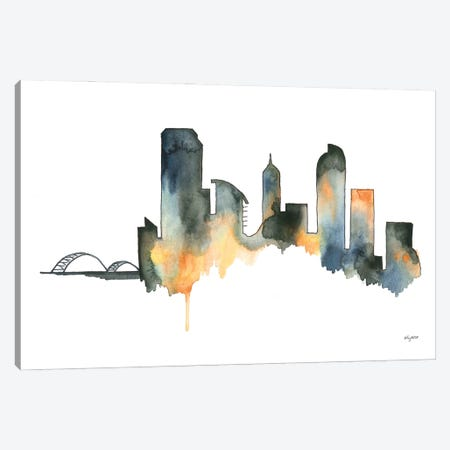 Neutral Denver Skyline Canvas Print #KMT99} by Kelsey McNatt Canvas Artwork