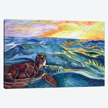 Turtle At Sea Canvas Print #KMW18} by Kim Winberry Art Print