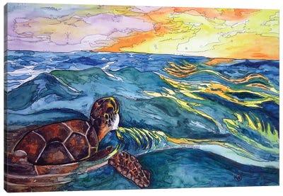 Turtle At Sea Canvas Art Print