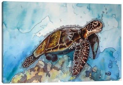 Floating Sea Turtle Canvas Art Print