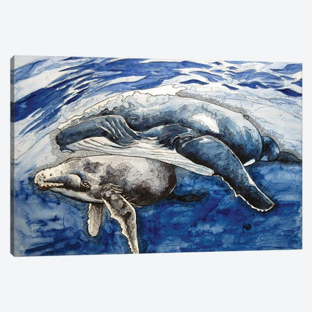 Humpback And Her Calf Canvas Print #KMW52} by Kim Winberry Canvas Art Print