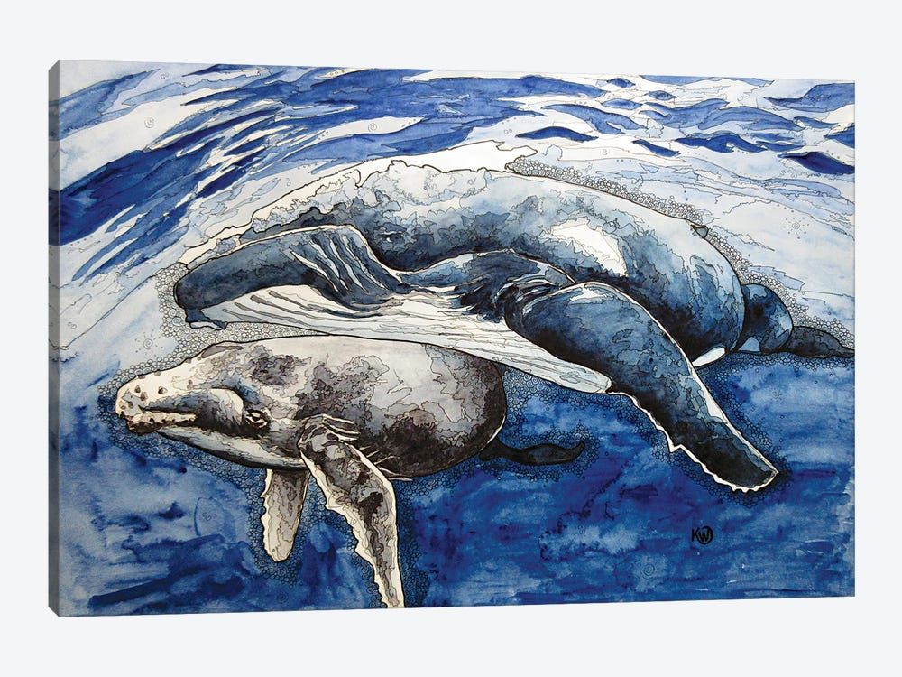 Humpback And Her Calf by Kim Winberry 1-piece Canvas Art