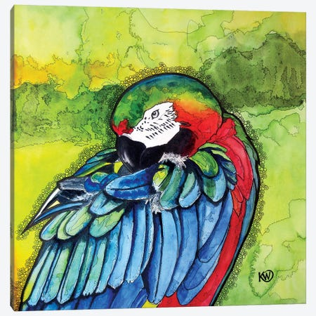 Parrot II Canvas Print #KMW63} by Kim Winberry Canvas Wall Art
