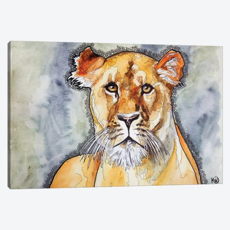 Lioness Canvas Print #KMW77} by Kim Winberry Canvas Wall Art