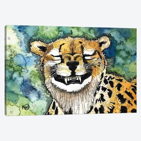 Grinning Cheetah Canvas Print #KMW7} by Kim Winberry Canvas Artwork
