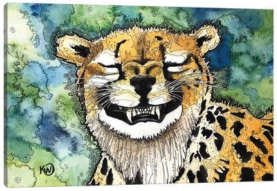 Grinning Cheetah Canvas Art Print