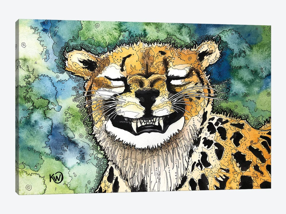 Grinning Cheetah by Kim Winberry 1-piece Canvas Print