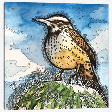 Cactus Wren Canvas Print #KMW80} by Kim Winberry Canvas Artwork