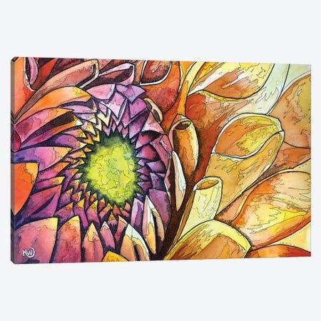 Golden Dahlia Canvas Print #KMW81} by Kim Winberry Canvas Wall Art