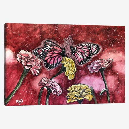 Pink Butterflies Canvas Print #KMW91} by Kim Winberry Art Print