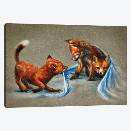 Fox Kids II Canvas Print #KNK18} by Konstantin Kalinin Art Print