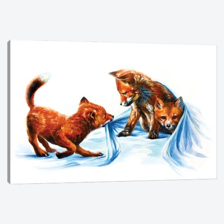 Fox Kids III Canvas Print #KNK19} by Konstantin Kalinin Canvas Art Print
